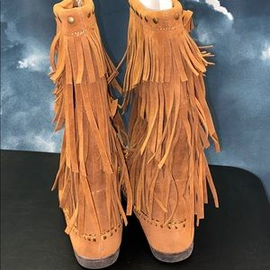 Rampage Mid Calf Boots Suede Moccasin